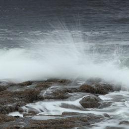 Breaking waves, Bamburgh Beach, Northumbria