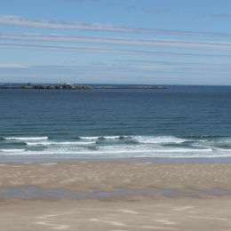 Looking towards Inner Farne, from Bamburgh Beach, Northumbria