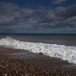 View along Dunwich Beach looking towards Southwold, Suffolk