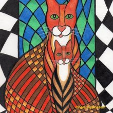 'PATCHWORK KITTY CATS LAYLA & CHARLIE' - SOLD