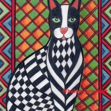'PATCHWORK KITTY CAT ZEBEDEE' - SOLD