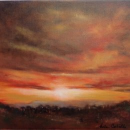 309-Dawn over the North York Moors 12x10in oil