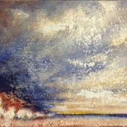 312-Looking North to Flamborough Head 12x10in oil