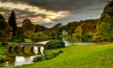 Stourhead lake in the evening