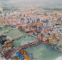 View from Shard watercolour by  Helen Lee