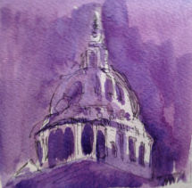 St Paul's cathedral in purple