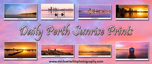 Purchase this Daily Perth Sunrise Print by Michael Willis Photography