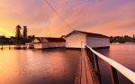 Freshwater Bay Boatsheds at Sunset