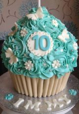 Turquoise giant cupcake
