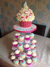 Hello Kitty giant cupcake tower
