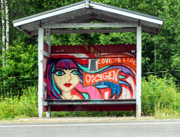 Graffiti in bus stop shelter
