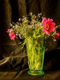 Flowers in green vase