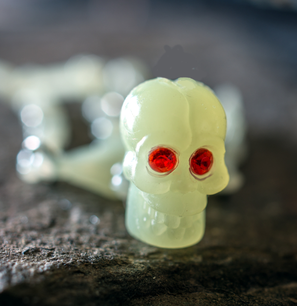 Red Eyed  Plastic Skull