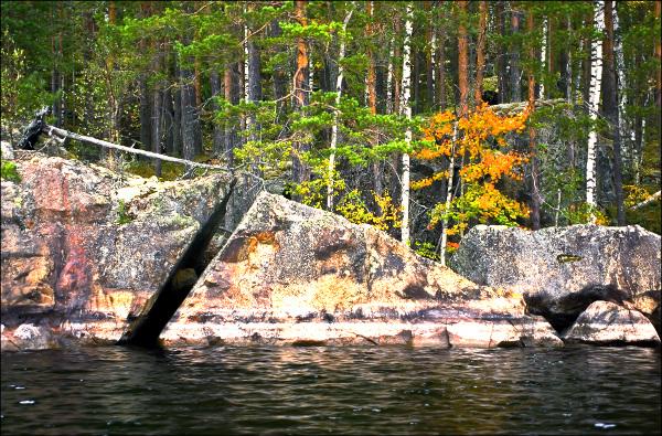 Waterfront boulders
