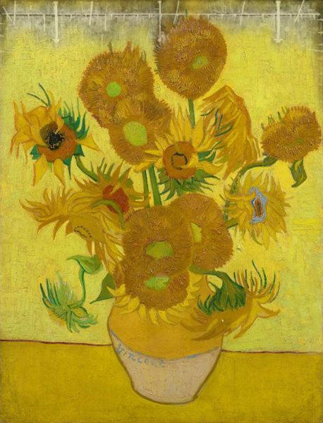 Van Gogh Sunflower - Amsterdam X-Ray overlay