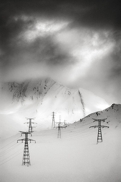 Pylons in the Snow