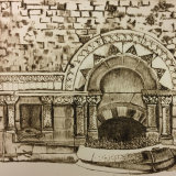 Ladymead Fountain at Bath - Drypoint Print