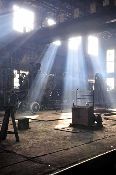 Shafts of light at the workshop.