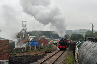 Florence No 2 leaves the colliery with a freight train.