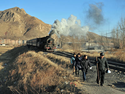 Passenger train departure.