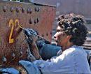 Repainting the number at Kotri Jnct.