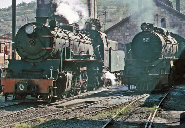 2-8-2 No 51,built by Arnold Jung in 1955 and 4-6-2 No 82, built by Nippon Sharyo in 1953 in the depot in Amman on 11th April 1998