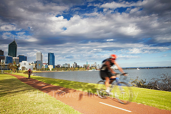 Cyclists along Swan River, Perth