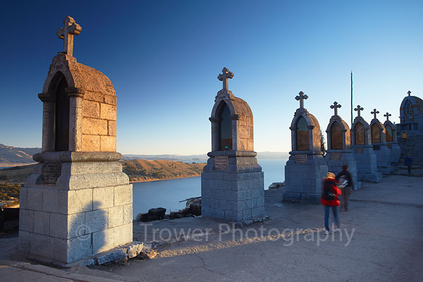 Crosses on summit of Cerro Calvario, Copacabana