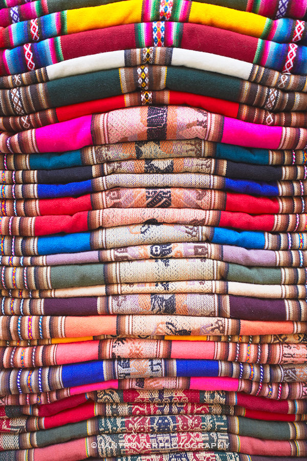 Colourful blankets in Witches' Market, La Paz
