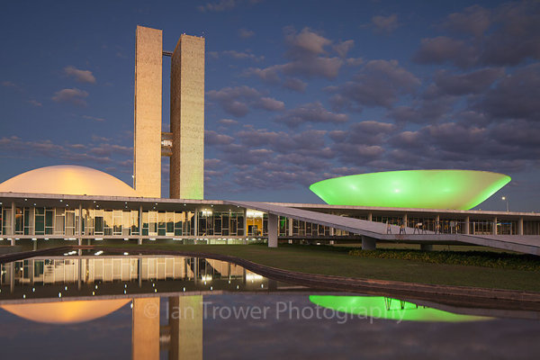 National Congress at dusk, Brasilia