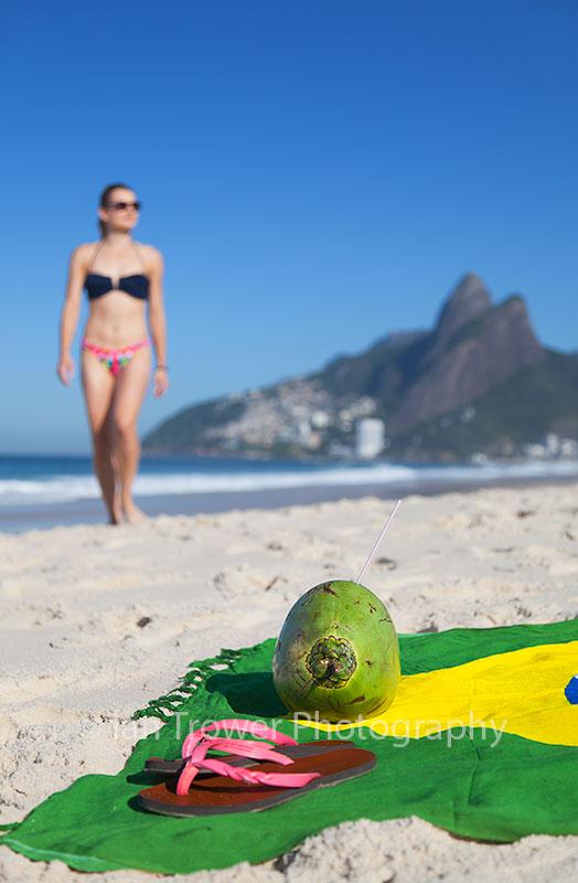 Woman on Ipanema beach, Rio de Janeiro, Brazil