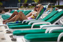 Couple at Sheraton Hotel pool, Rio de Janiero