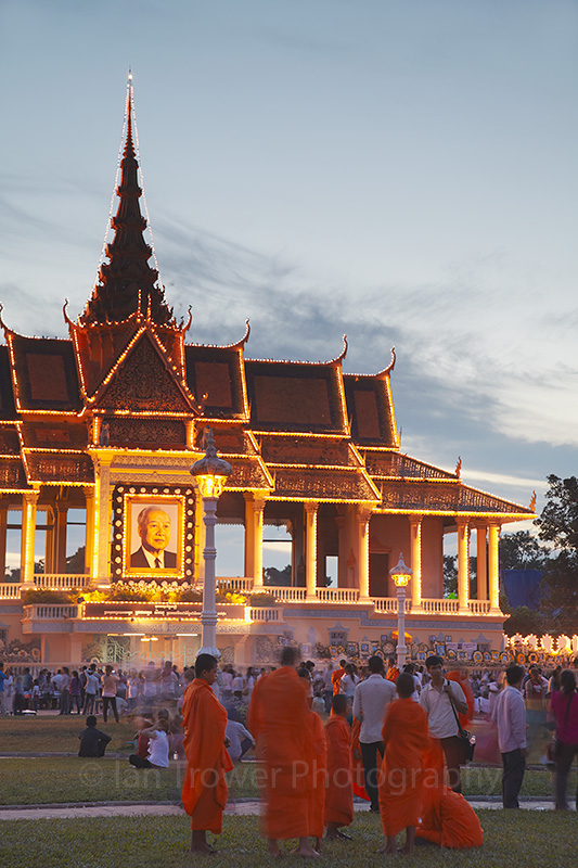 Monks outside Royal Palace at dusk, Phnom Penh