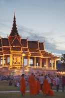 Monks outside Royal Palace at dusk, Phnom Penh