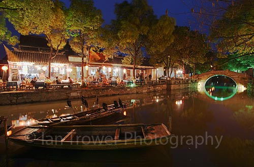 Restaurants At Dusk, Tongli, Jiangsu