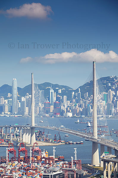 Stonecutters Bridge and Hong Kong Island