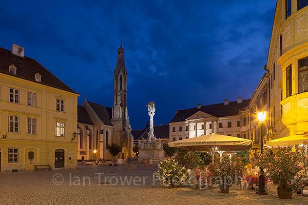 Main Square at dusk, Sopron