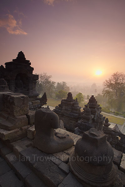Borobudur temple at sunrise, Java