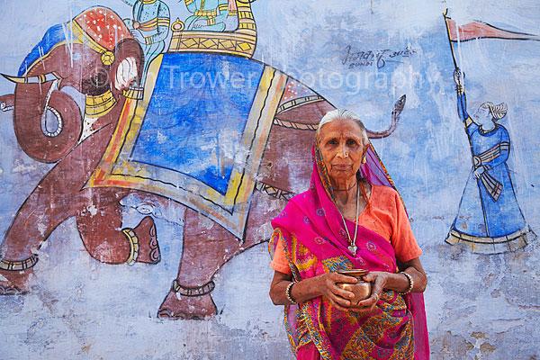 Woman wearing sari, Bundi, India
