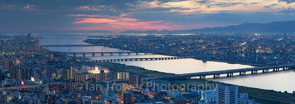 View of Osaka at sunset, Japan