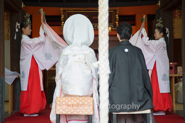 Traditional wedding ceremony at Shinto shrine of Sumiyoshi Taisha, Osaka