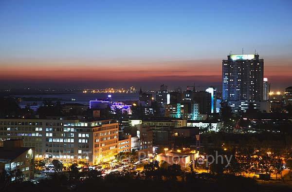 Maputo skyline at dusk