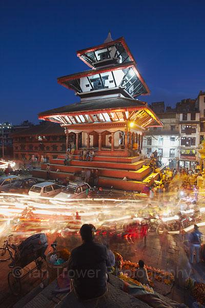Light trails through Durbar Square, Kathmandu
