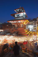 Light trails through Durbar Square, Kathmandu