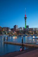 Viaduct Harbour and Sky Tower at dusk, Auckland