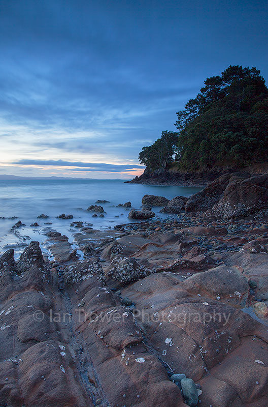 Te Mata beach at sunset, Coromandel Peninsula