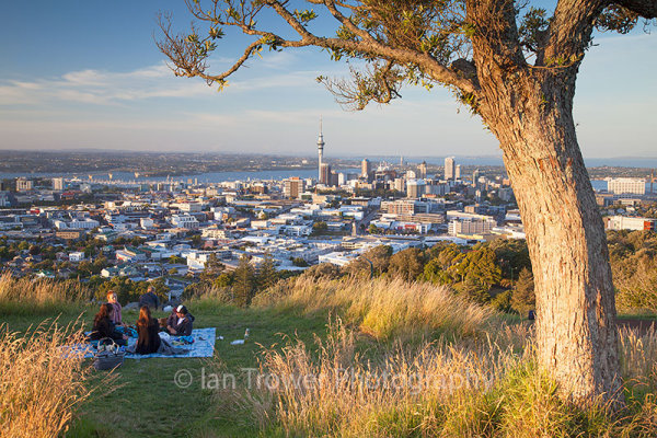 People picnicking on Mount Eden, Auckland