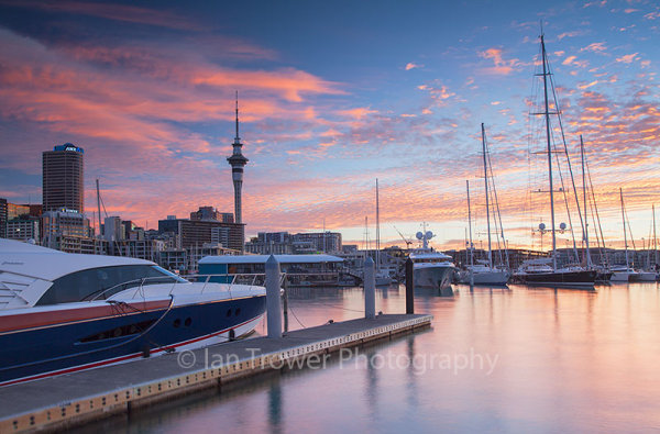 Viaduct Harbour and Auckland skyline at sunset