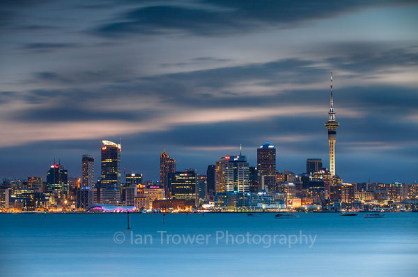View of Auckland skyline at dusk