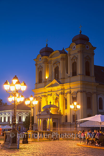 Metropolitan Cathedral at dusk, Timisoara